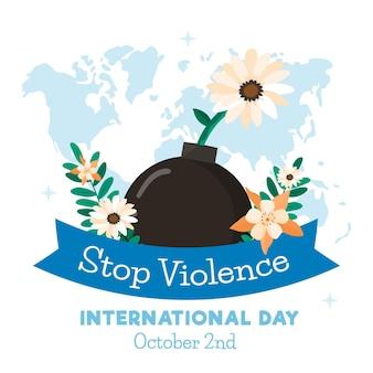 花を持つ非暴力のフラットデザイン国際デー
