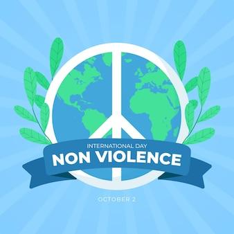 Международный день ненасилия в плоском дизайне со знаком мира