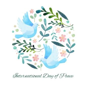 평화 배경의 평면 디자인 국제 날