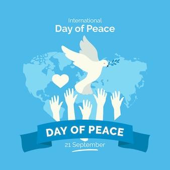 平和の概念のフラットデザイン国際デー
