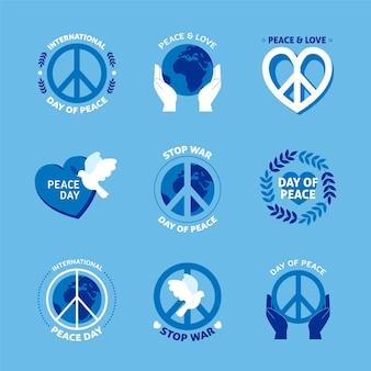 平和ラベルのフラットデザイン国際デー