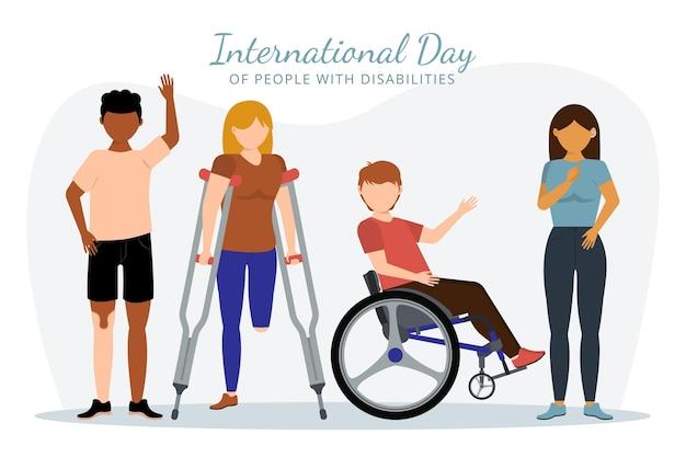 障害者の背景を持つ人々のフラットデザイン国際デー