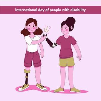 Плоский дизайн международный день людей с ограниченными возможностями Premium векторы