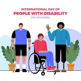 Международный день людей с ограниченными возможностями в плоском дизайне