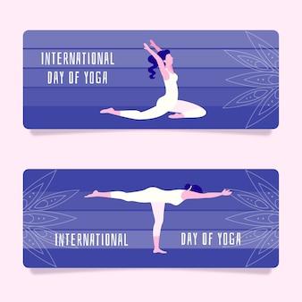 요가 배너의 평면 디자인 국제 날