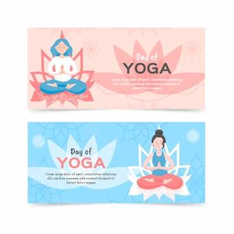 Плоский дизайн международного дня йоги баннера