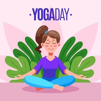 Плоский дизайн международный день концепции йоги