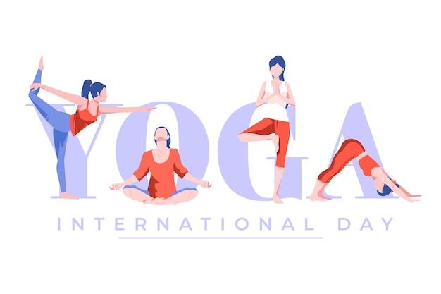 요가의 평면 디자인 국제 날