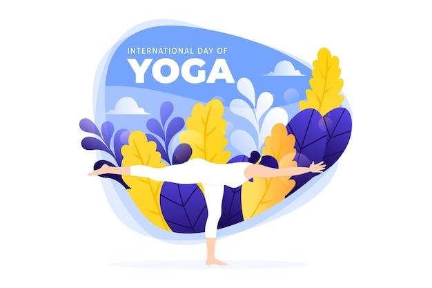 Плоский дизайн международного дня йоги