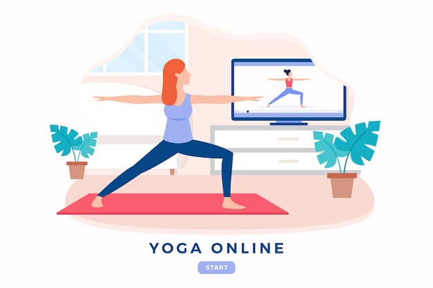 Flat design international day of online yoga