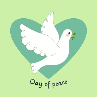 Flat design international day of peace background with pigeon