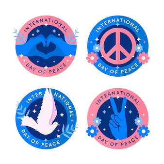 Flat design international day of peace badge collection