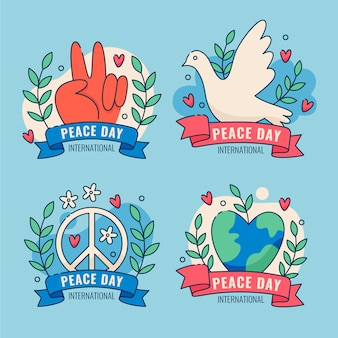 Flat design international day of peace badges collection