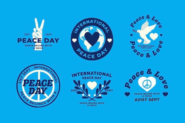 Flat design international day of peace badges