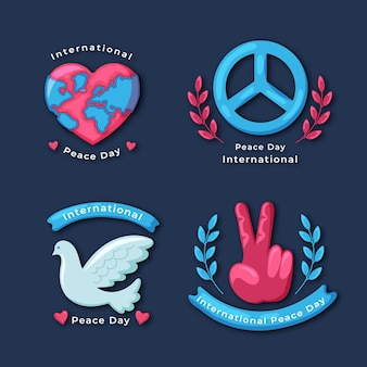 Flat design international day of peace labels collection