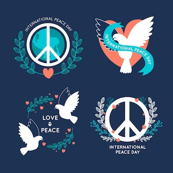 Flat design international day of peace labels pack