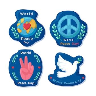 Flat design international day of peace labels set