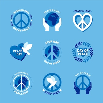 Flat design international day of peace labels