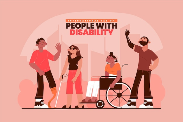 Flat design international day of people with disability illustrated