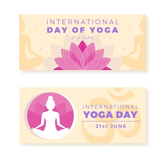 Flat design international day of yoga banner