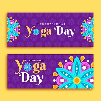 Flat design international day of yoga banner