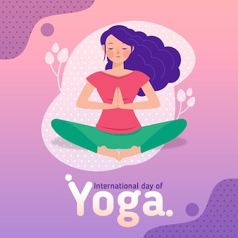 Flat design international day of yoga concept