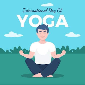 Flat design international day of yoga concept