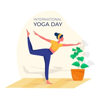 Flat design international day of yoga event