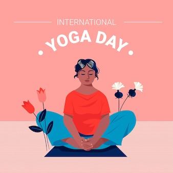 Giornata internazionale dello yoga design piatto