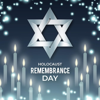Flat design international holocaust remembrance day