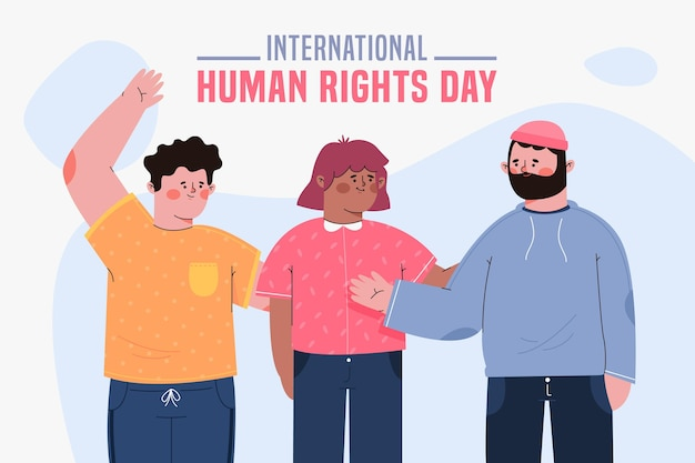 Flat design international human rights day with people