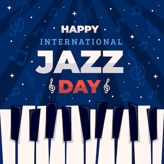 Flat design international jazz day concept
