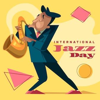 フラットなデザインの国際ジャズの日のコンセプト