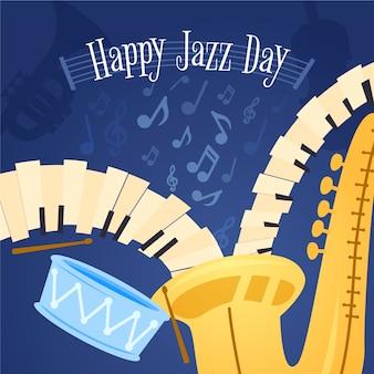 Плоский дизайн международный день джаза