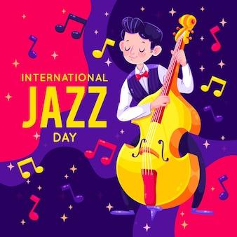 Flat design international jazz day concept