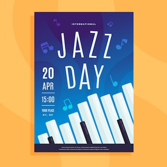 Flat design international jazz day flyer