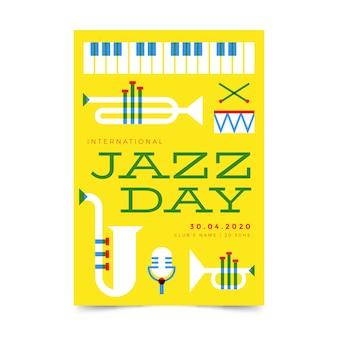Flat design international jazz day poster design