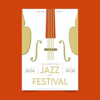 Flat design international jazz day poster template theme