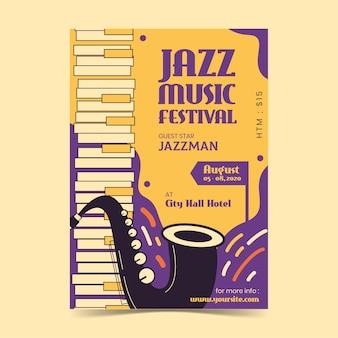 Плоский дизайн шаблона международный день джаза плакат