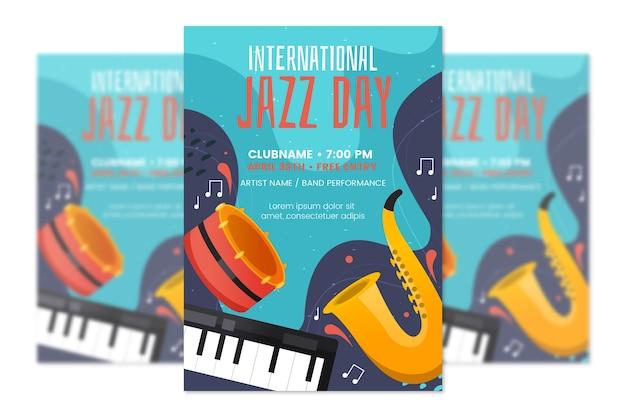 フラットなデザインの国際ジャズの日ポスターテンプレート