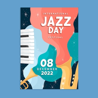 Flat design international jazz day poster template