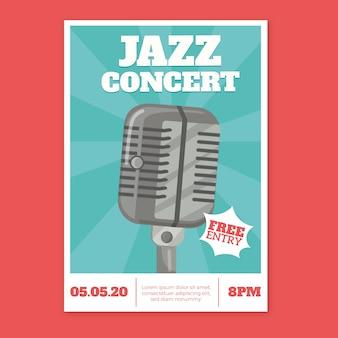 Flat design international jazz day poster template