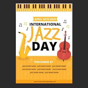 フラットなデザインの国際ジャズの日のポスターテーマ