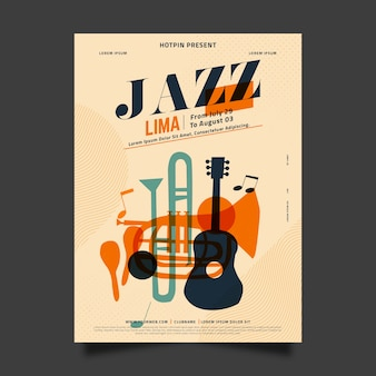 Flat design international jazz day template design