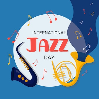 Flat design international jazz day