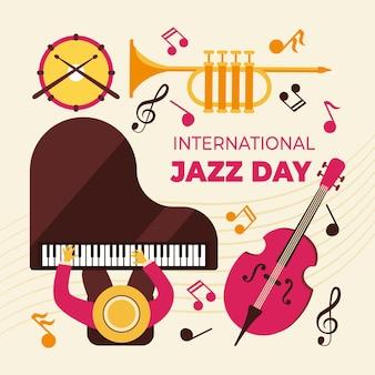 Flat design international jazz day
