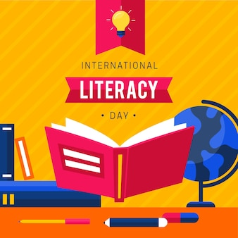 Flat design international literacy day background