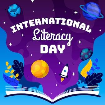 Flat design international literacy day background