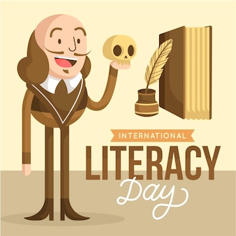 Flat design international literacy day concept