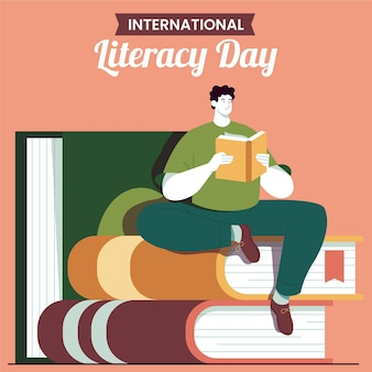 Flat design international literacy day concept